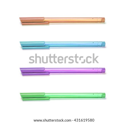 Closeup color pens , brown pen , blue pen , purple pen , green pen isolated on white background - stock photo