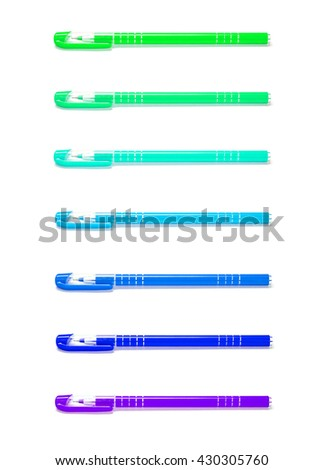 Closeup color pens isolated on white background - stock photo