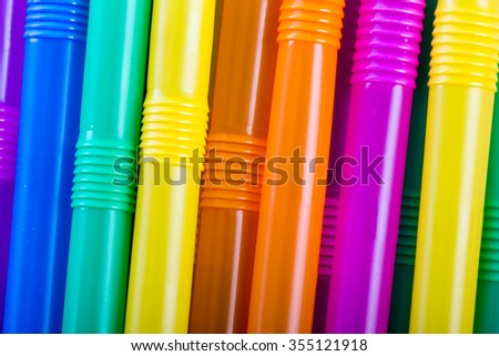 Closeup Colorful drinking straws
