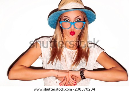 Closeup colorful fashion portrait of pretty young blond woman posing on white background in hat with red lips summer style  - stock photo
