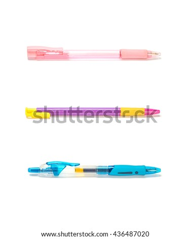 Closeup colorful pens , pink pen , purple pen , blue pen  isolated on white background - stock photo