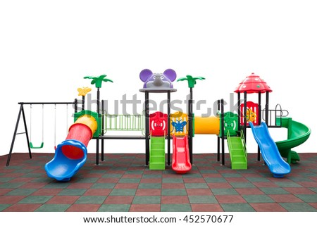 Closeup colorful playground with Prevent injuries yard on isolated white background