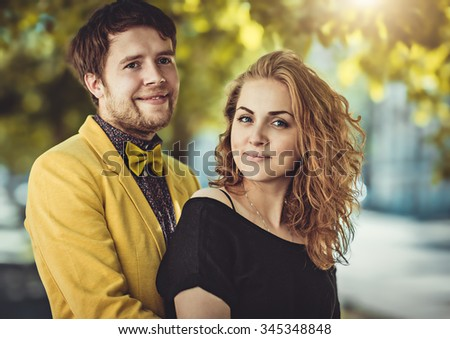 Closeup colorful stylish sensual portrait of young beautiful couple happy together