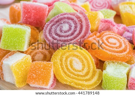 Closeup Colorful sugary candy for backgrounds - stock photo