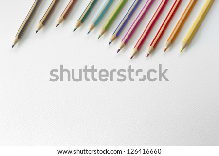 closeup Colors pencils as background with space for text - stock photo
