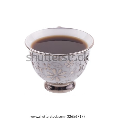 closeup cup of coffee isolated on white background