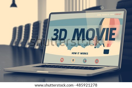 Closeup 3D Movie Concept on Landing Page of Mobile Computer Screen in Modern Conference Hall. Toned Image with Selective Focus. 3D Rendering.