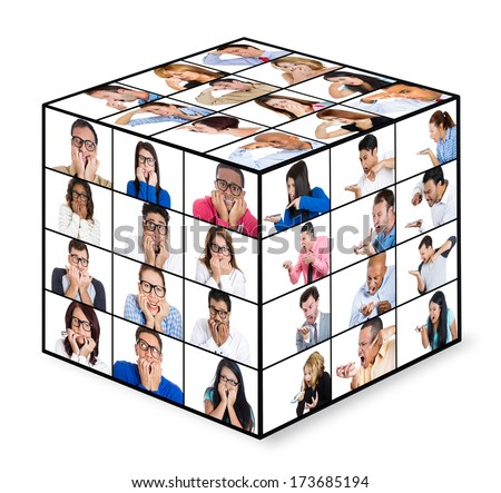 Closeup 3d portrait collage cube of ethnic multicultural groups of people, mad angry shouting at cell phone, shy scared anxiously looking around, neutral annoyed disgusted by conflict stink situation - stock photo