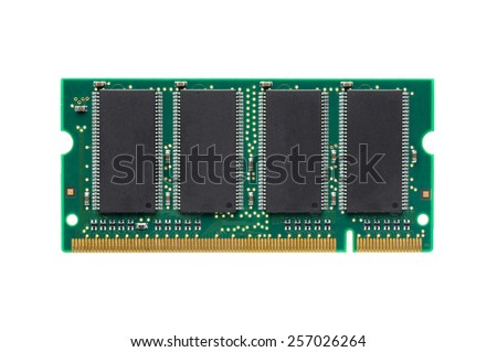 closeup DDR RAM for laptop isolated on white background - stock photo
