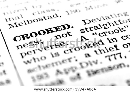 Closeup definition of crook or crooked person stealing or fraud - stock photo
