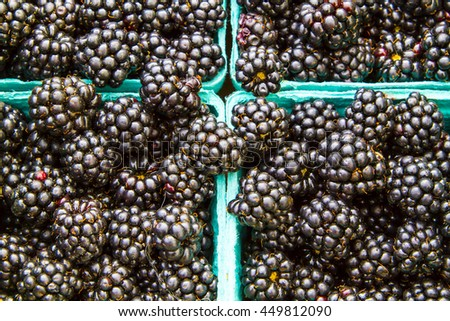 Closeup detail of blackberries in blue cardboard containers