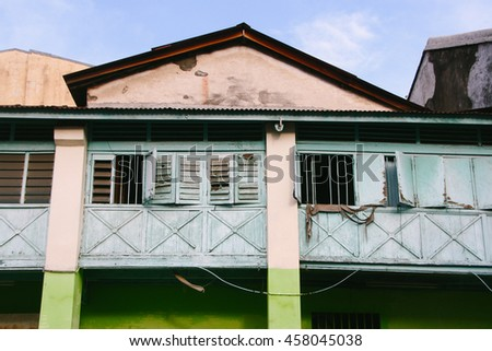 Closeup detail of building facades in George Town, a UNESCO World Heritage Site on Penang island, Malaysia