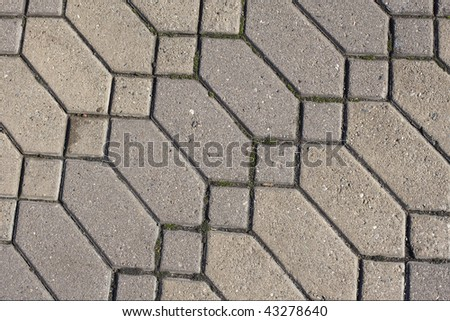 Closeup Detail of Diamond Cement Pattern in Sidewalk - stock photo