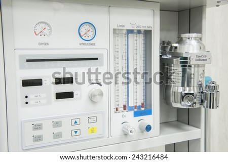 Closeup detail of flowmeter gauge on medical hi-tech anesthetic machine in health care center hospital - stock photo