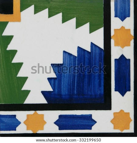 Closeup detail of old Portuguese glazed tiles. - stock photo