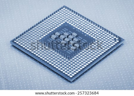 closeup details of Central Processing Unit (CPU) - stock photo