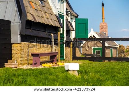 Closeup details of Dutch windmill at Kinderdijk, the Netherlands - stock photo