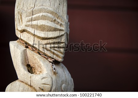 Closeup details of Rarotongan carved figure known as a Tangaroa - stock photo