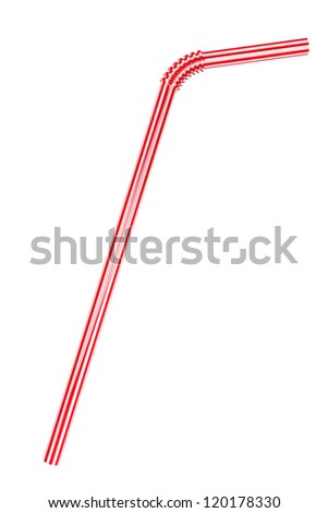 Closeup Drinking straw on a white background - stock photo