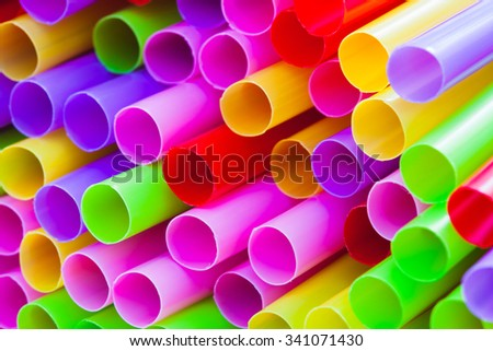 Closeup drinking straws  of colorful