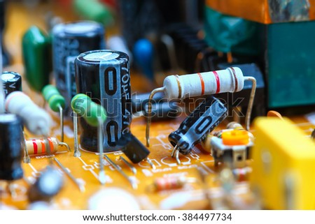 Closeup electronic circuit board background,