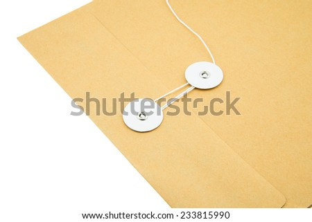 Closeup envelope with rope on white background - stock photo