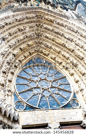 Closeup facade cathedral Notre Dame in the town Reims, France - stock photo