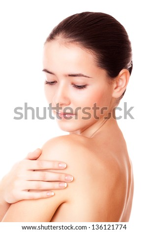 closeup face beautiful woman with healthy clean skin and closed eyes - stock photo