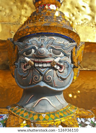 closeup face of  thai giant in grand palace