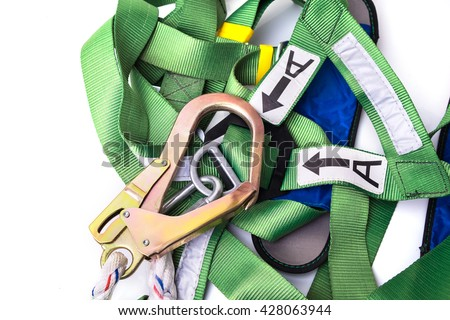 Closeup fall protection harness and lanyard for work at heights on white background.Closeup at safety hook. - stock photo