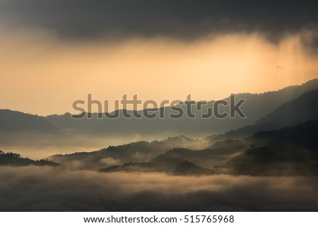 Closeup Fantastic Landscape of Misty Mountain over Phu Lanka mountain hills, Phayao province, north of Thailand.