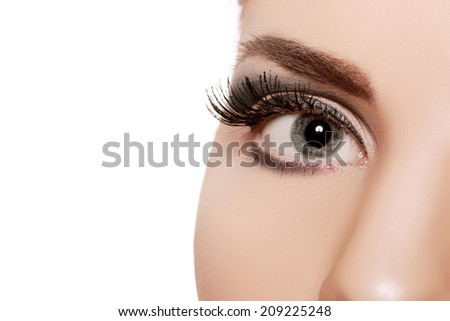 closeup female eye with long eyelashes - stock photo