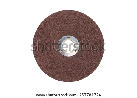 Closeup fibre grinder disc for electrical angle grinder isolated on white - stock photo