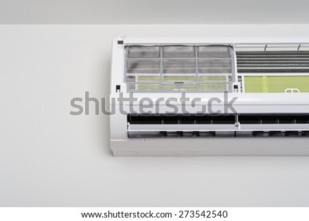 closeup filter of wall type air conditioner