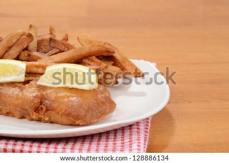 closeup fish and chips - stock photo