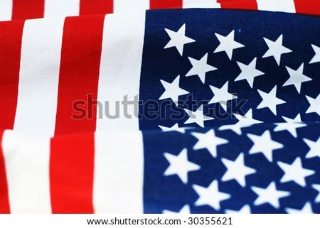 closeup flag of the USA - stock photo