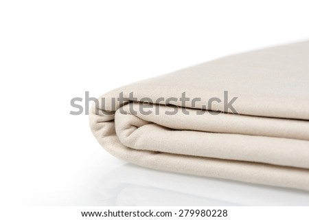 closeup folded microfiber towel on white background