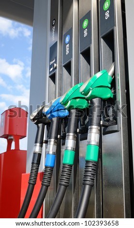 Closeup for fuel pump distributor - stock photo