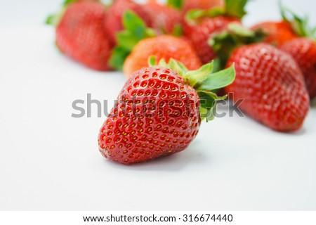 closeup fresh strawberries - stock photo