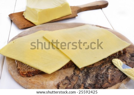 closeup from a bread with cheese and butter in the background