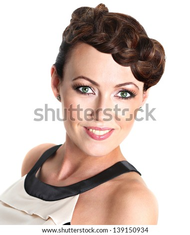 Closeup glamor portrait of a beautiful woman - stock photo