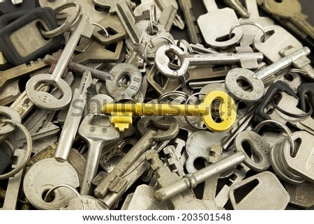 closeup gold skeleton key and old metal keys, solution and strategy concepts for business - stock photo