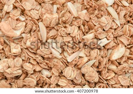 Closeup granola cereal - stock photo