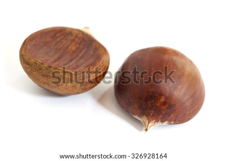 closeup group of chestnuts on white background