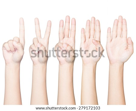 closeup hand gesture count one to five isolated