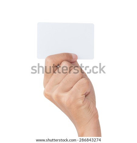 closeup hand hold blank card isolated with clipping path - stock photo