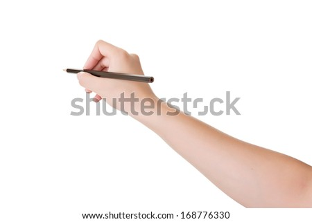 Closeup hand holding pencil, isolated on white. - stock photo