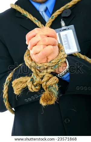 closeup hand of businessman being tied up with rope. concept for powerless - stock photo