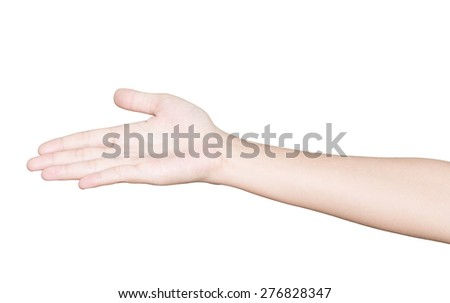 closeup hand receive isolated white clipping path inside