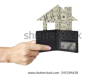Closeup hands as he is getting a banknote out of his wallet  - stock photo